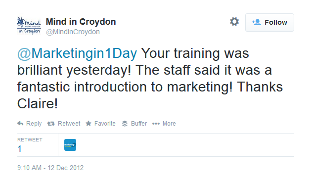 MIND in Croydon Twitter comment